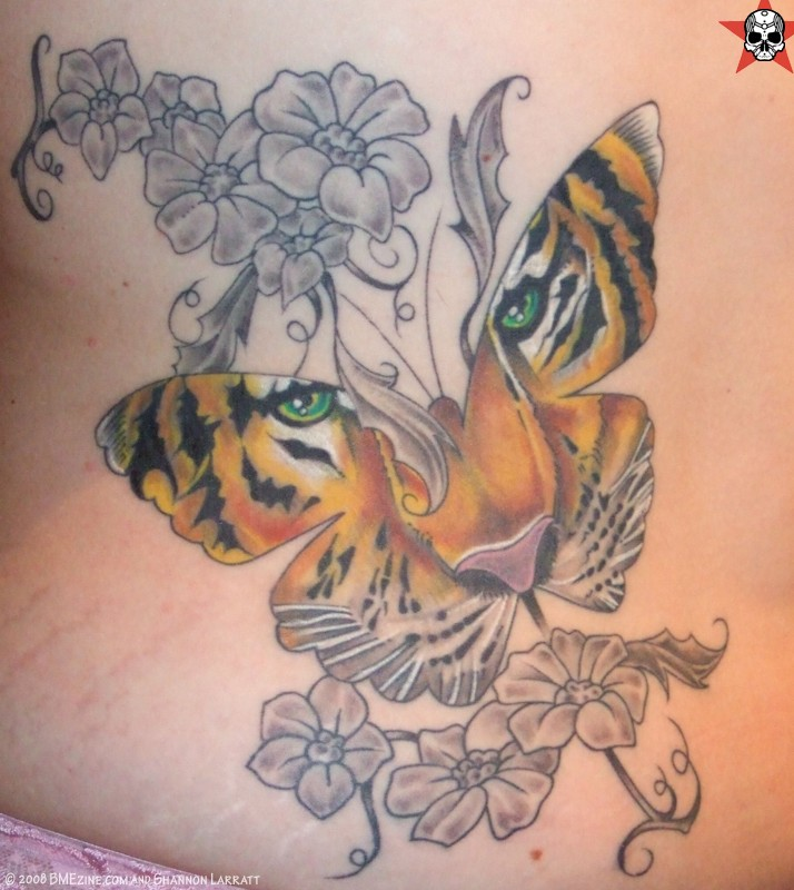 Lovely Butterfly in Tiger Design Tattoo photo - 1