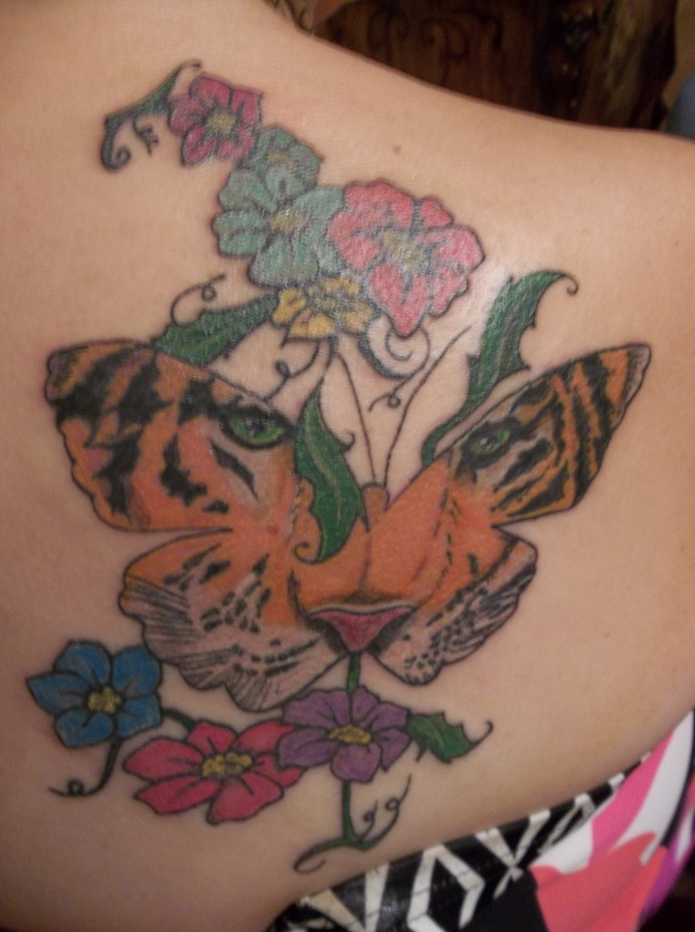 Lovely Butterfly in Tiger Design Tattoo photo - 2