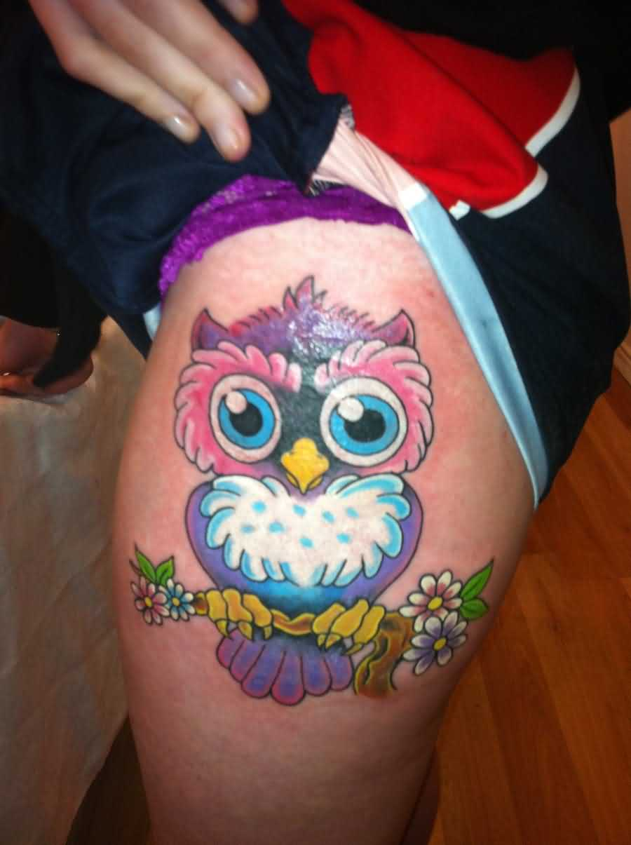 Lovely Color Owl Tattoos On Thigh photo - 3