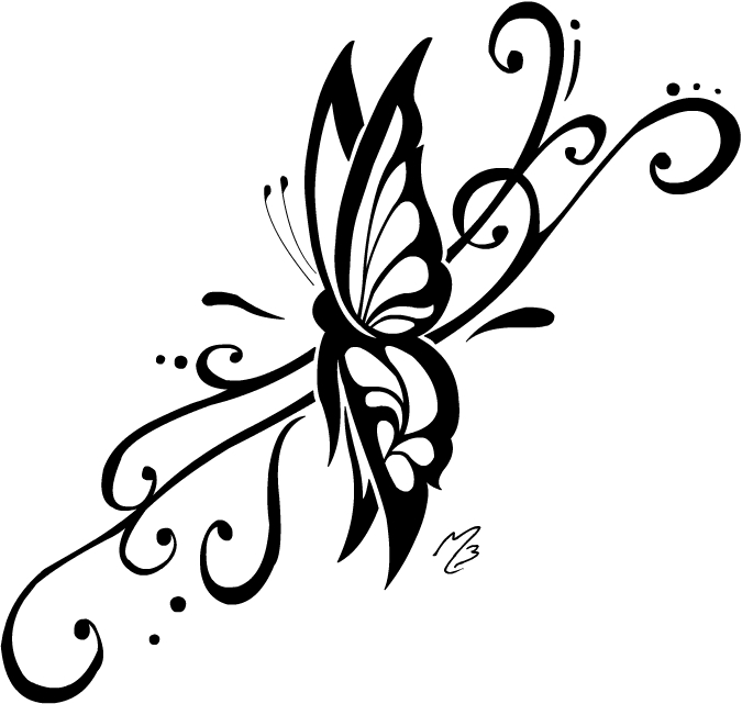 Lower Back Butterfly Mask Tattoo Design photo - 1