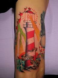 Magnificent Lighthouse Tattoo On Lower Arm photo - 1
