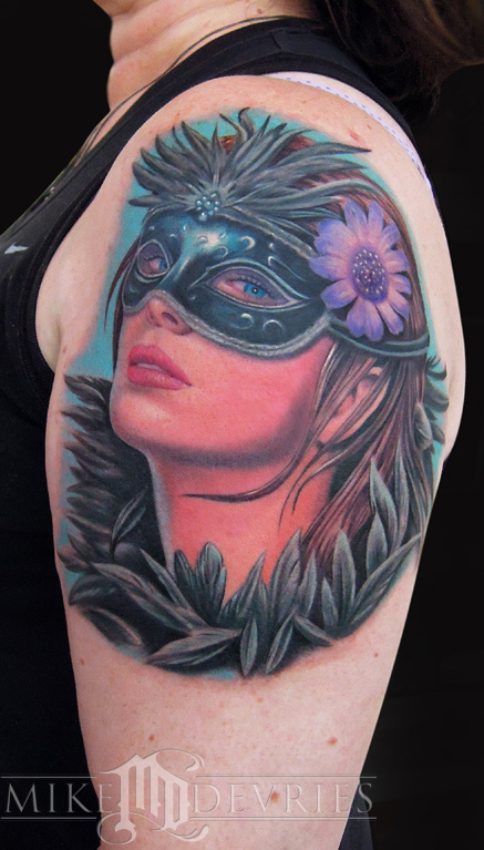 Masquerade Girl Mask Portrait Tattoo On Shoulder photo - 1