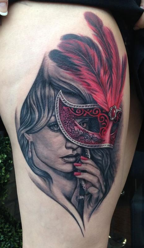 Masquerade Girl Mask Portrait Tattoo On Shoulder photo - 2
