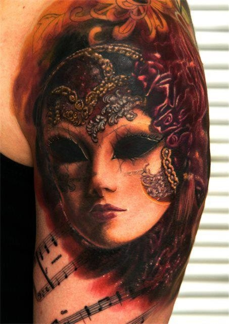Masquerade Girl Mask Portrait Tattoo On Shoulder photo - 3