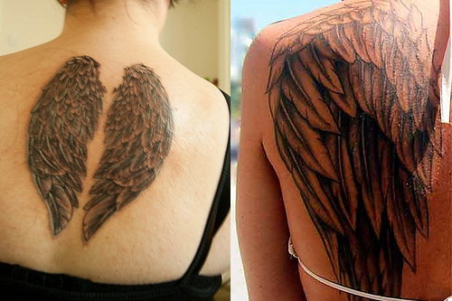 Memorial Angel Wings Tattoo On Back photo - 2