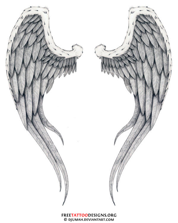 Memorial Angel Wings Tattoo On Back photo - 3