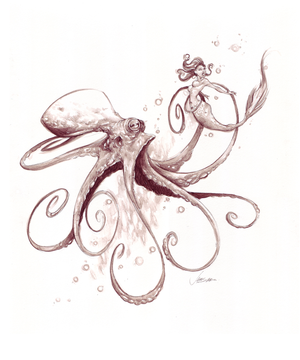 Mermaid And Octopus Tattoo Drawing photo - 1