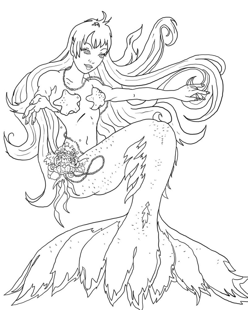Line Art Mermaid : Mermaid line art tattoo design in real photo