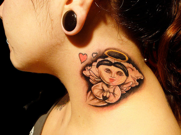 Mexican Angel Neck Tattoo photo - 1