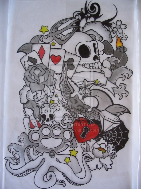 Mexican See Sleeve Tattoo Design photo - 1