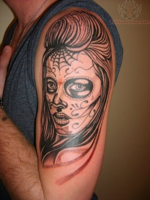 Mexican Skull And Roses Tattoo On Sleeve photo - 1