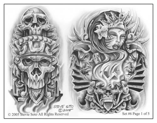 Mexican Style Tattoo Flash Drawings photo - 1