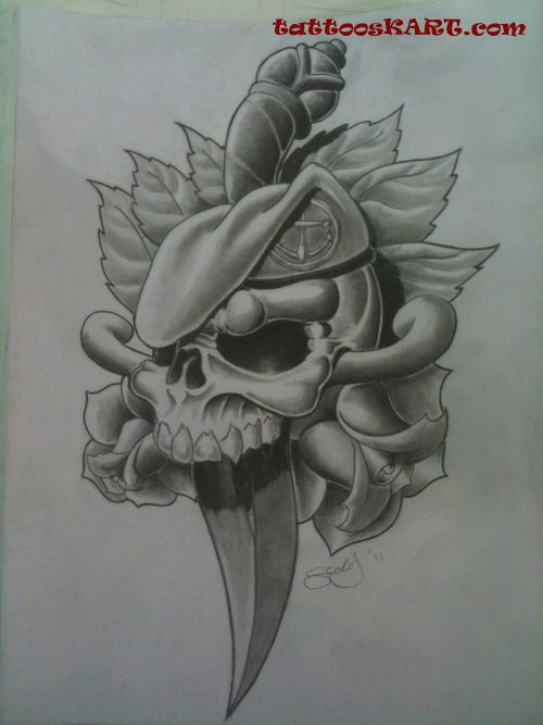 Military Skull Tattoo Sample in 2017: Real Photo, Pictures ...