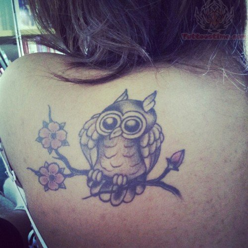 Mother And Baby Owls Sitting On Branch Tattoo photo - 1