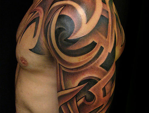 New 3D Tribal Tattoo On Upper Arm photo - 3