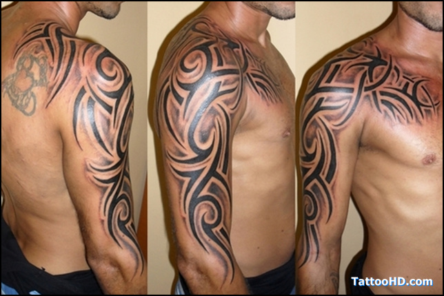 New Animal And Tribal Tattoos On Shoulder photo - 2