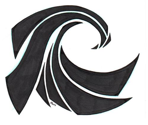 New Black Tribal Wave Tattoo Design photo - 1