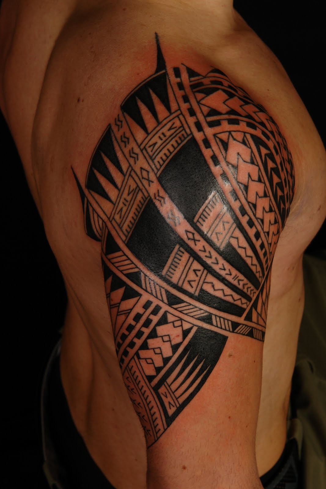 New polynesian sleeve tattoo design in 2017 real photo for Polynesian tattoo near me