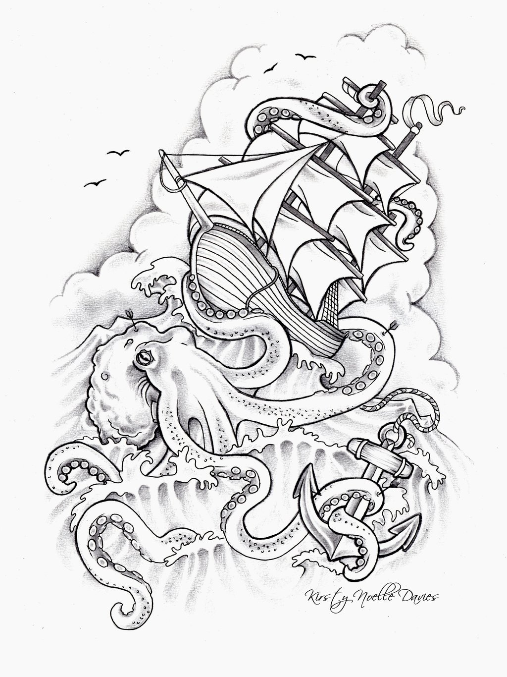 Octopus Anchor Tattoo Sketch photo - 1