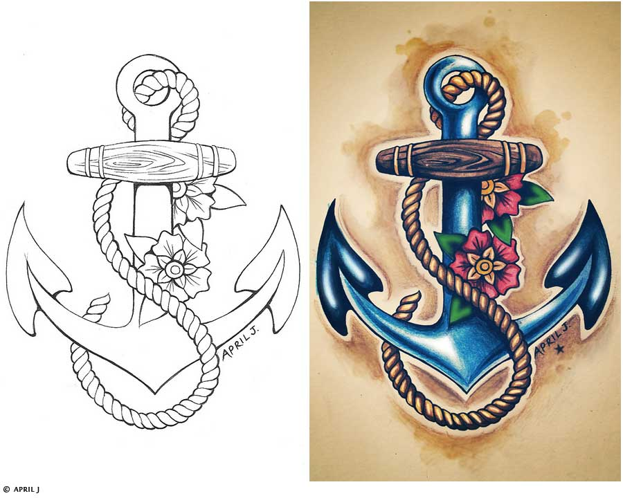 Octopus And Anchor Tattoo Design photo - 1