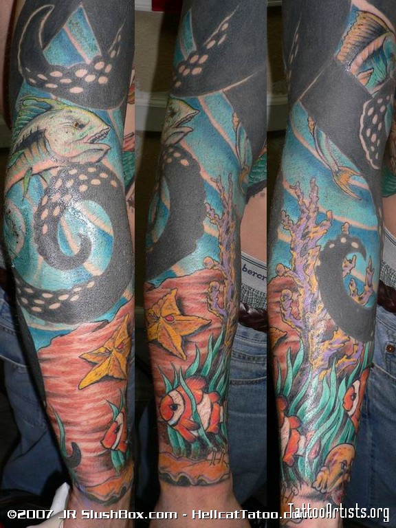 Octopus With Bottle Tattoos On Sleeve photo - 1