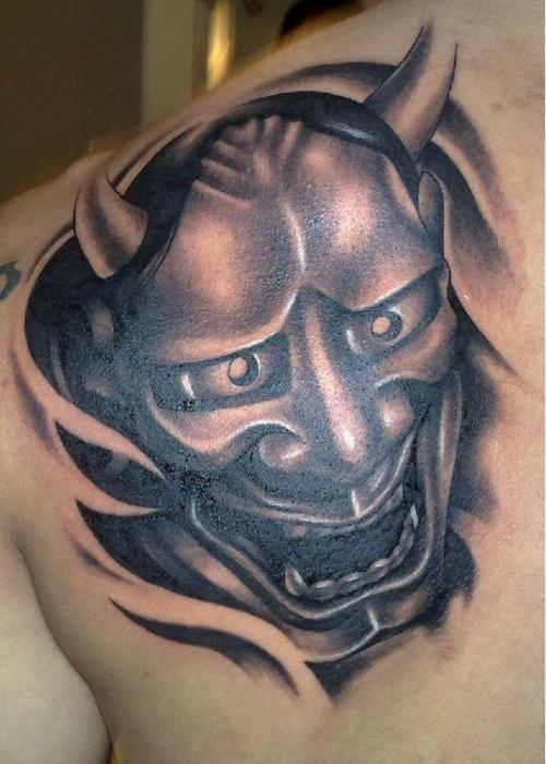 Oni Mask Tattoo On Chest photo - 1
