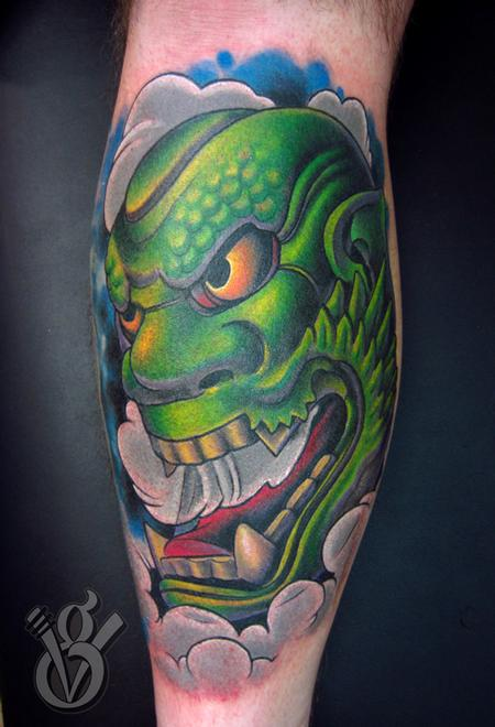 Oni Mask Tattoo Picture For Men photo - 2