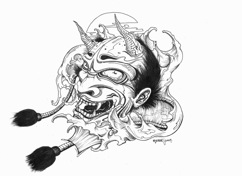 Outline Oni Mask Tattoo Design photo - 1