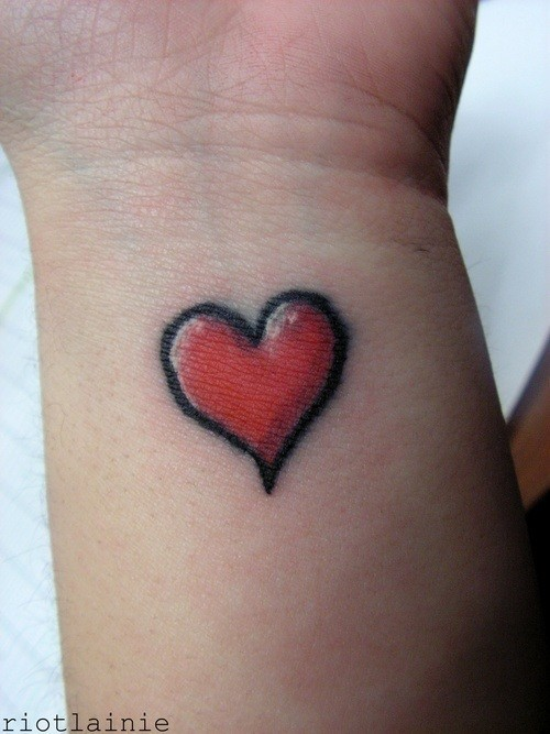 Outline Red Heart Wrist Tattoo photo - 1