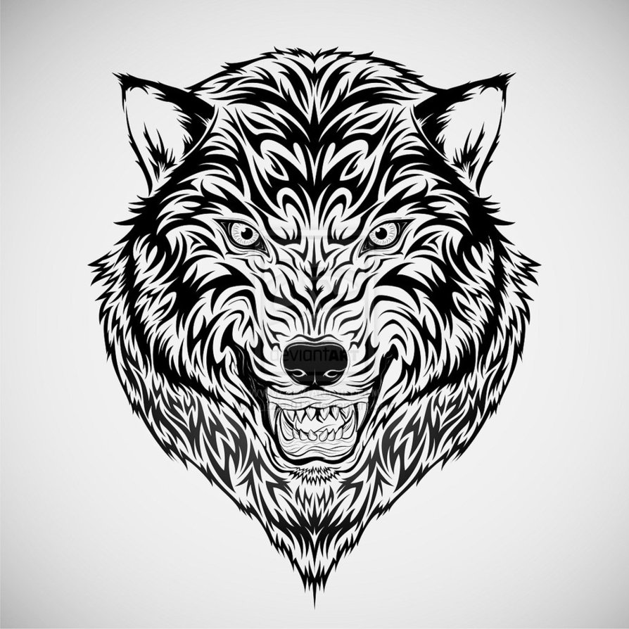 Outline Tribal Wolf Tattoo On Shoulder photo - 2
