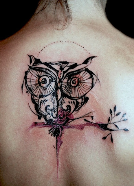 Owl Flying With Clock Tattoo Design photo - 2