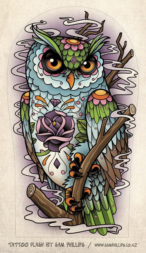 Owl Flying With Clock Tattoo Design photo - 3