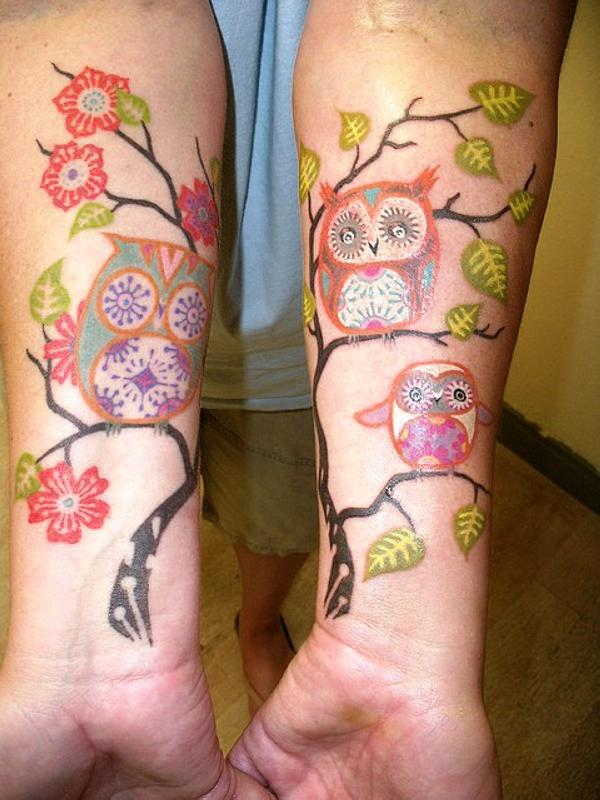 Owl On Blossom Branch Tattoo On Sleeve photo - 2