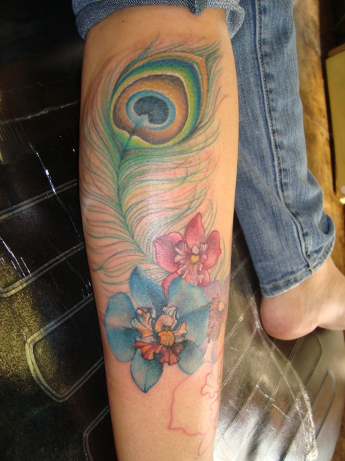 Peacock Feather And Flowers Leg Tattoo Designs photo - 1