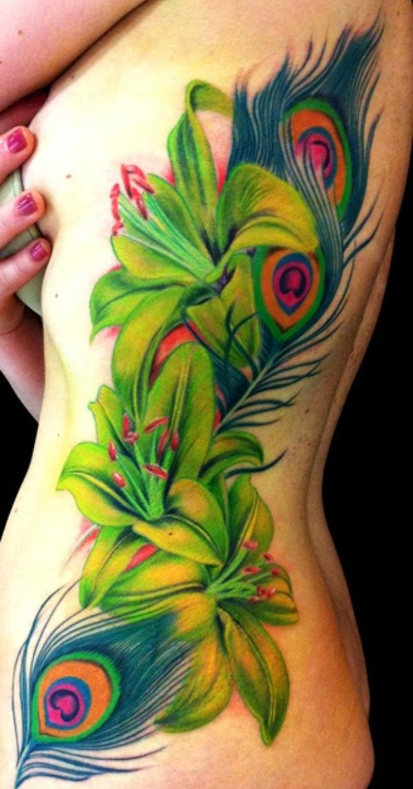 Peacock Feather And Flowers Leg Tattoo Designs photo - 2