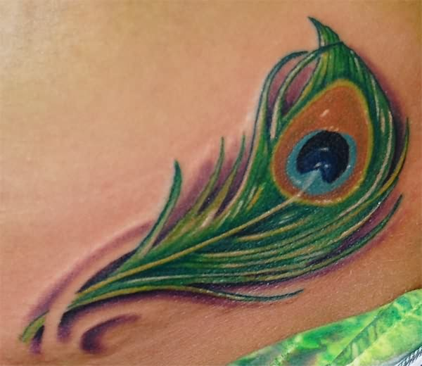 Peacock Feather Tattoo On Hand photo - 1