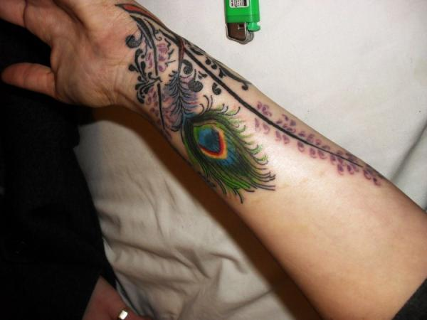 Peacock Feather Wrist Tattoo For Girls photo - 2