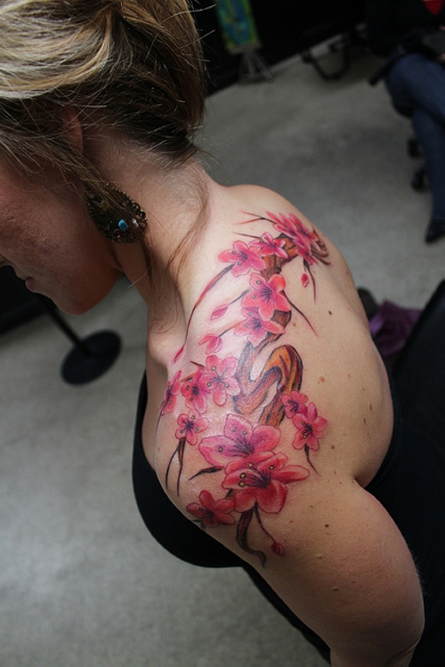 Pink Cherry Blossom Flowers Tattoo On Rib Side photo - 1