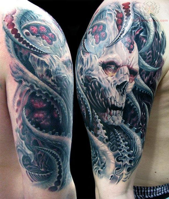 Pirate Man Octopus And Skull Sleeve Tattoos photo - 1