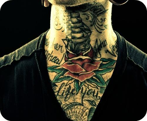 Pirate Ship Rose Tattoo On Front Of Neck photo - 1