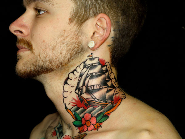 Pirate Ship Rose Tattoo On Front Of Neck photo - 2