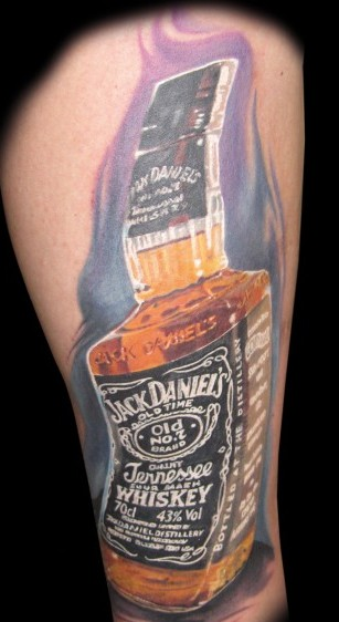 Poison Bottle With Flower Tattoo On Lower Arm photo - 1