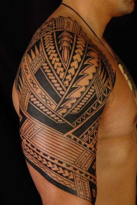 Polynesian Tribal Right Sleeve Tattoos photo - 3