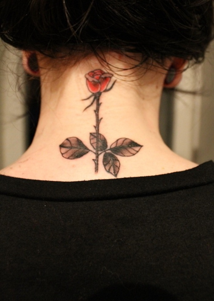Pretty Rose With Banner Tattoos On Side Of Neck photo - 1