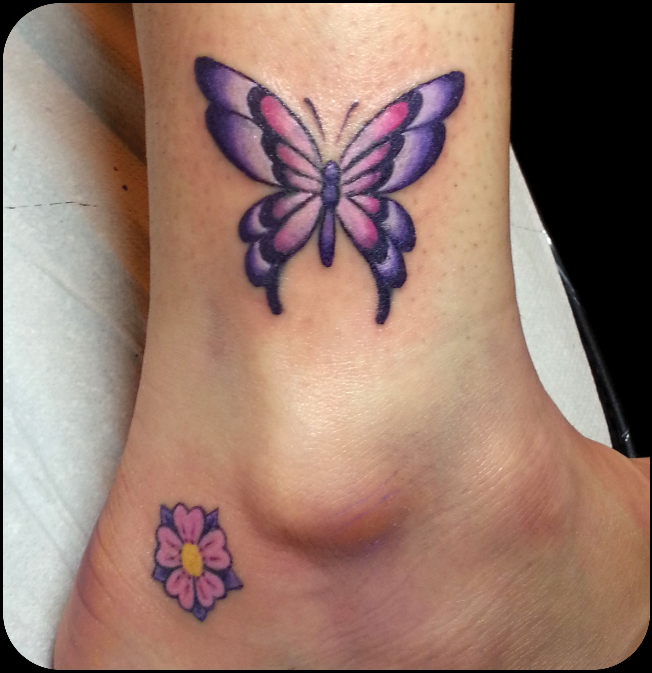 Purple and Blue Cute Butterfly Tattoo photo - 1
