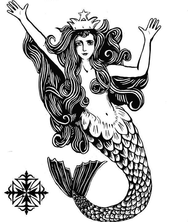 Queen Mermaid With Heart Tattoo Design photo - 1