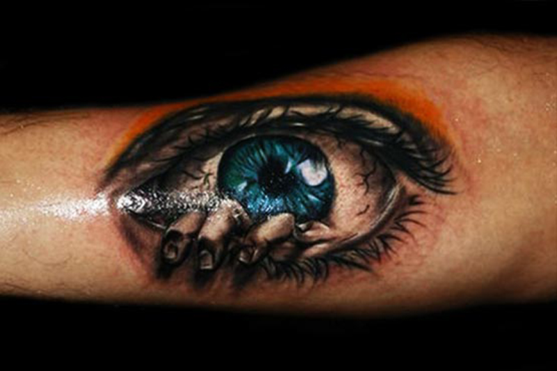 Real Looking Black Animal Face Tattoo photo - 1