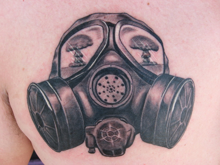 Realistic Gas Mask Tattoo On Arm photo - 2