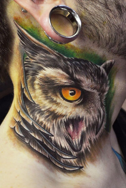 Realistic Screeching Owl Neck Tattoo photo - 1
