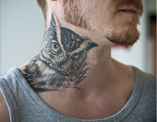 Realistic Screeching Owl Neck Tattoo photo - 2